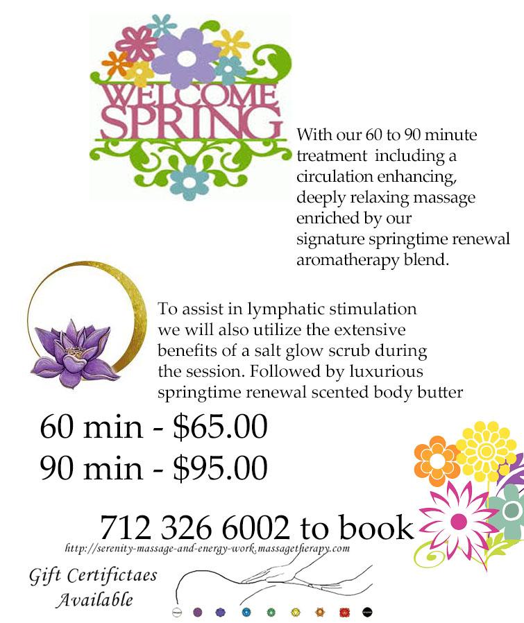 Spring Time Renewal massage